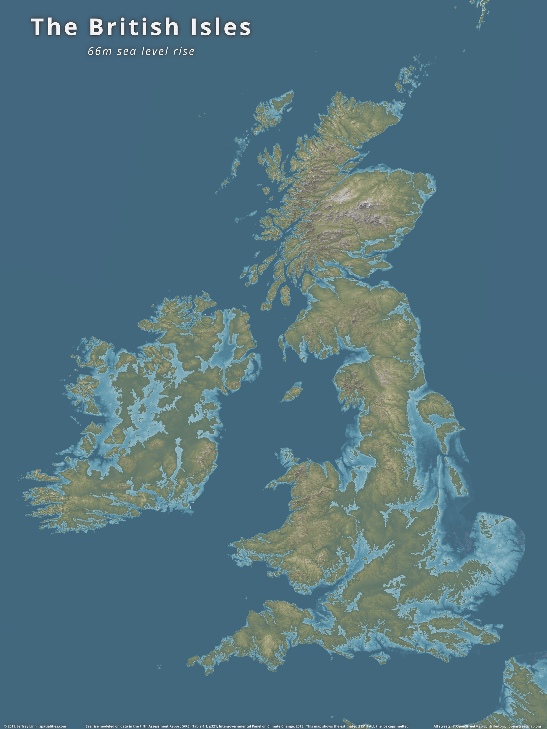 Map Of Uk If Sea Levels Rise.Spatialities