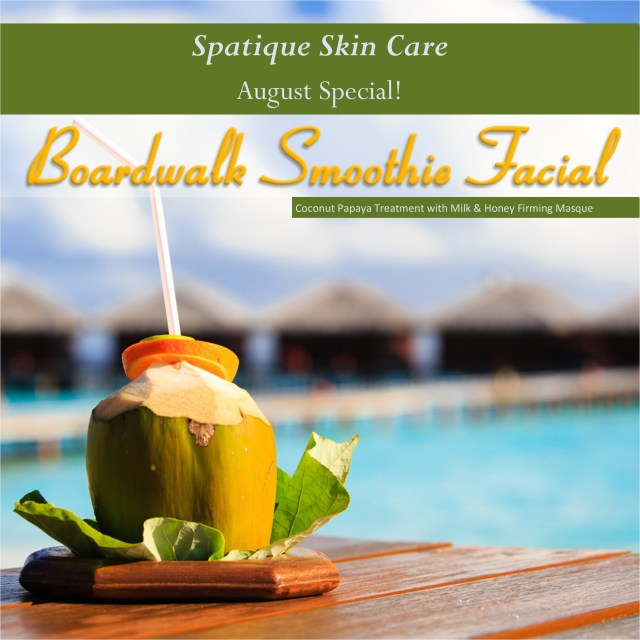 Boardwalk Smoothie Facial Papaya enzyme dissolves dead skin while coconut softens your skin, luxurious firming masque gives sun damaged skin a much needed boost