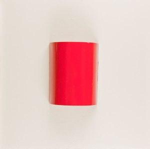 Untitled 06 red - 50X50 - Tela + lamiera su telaio - Vernice ad olio monocromatico - 2010