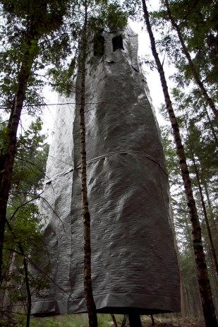 Masking wood (2013) PVC-fabric, Norway spruce (pine tree)