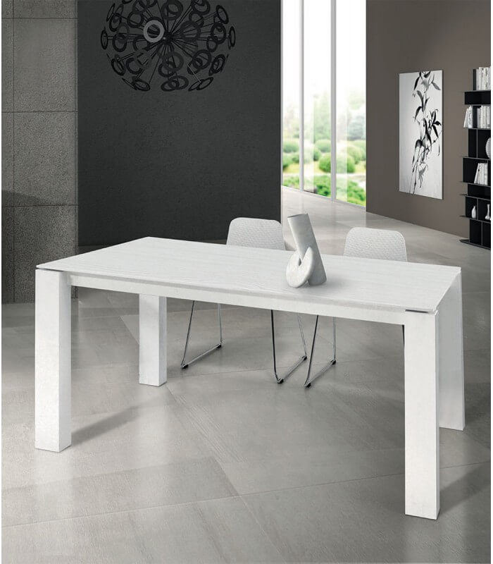 Tavolo moderno allungabile bianco frassinato  Spazio Casa