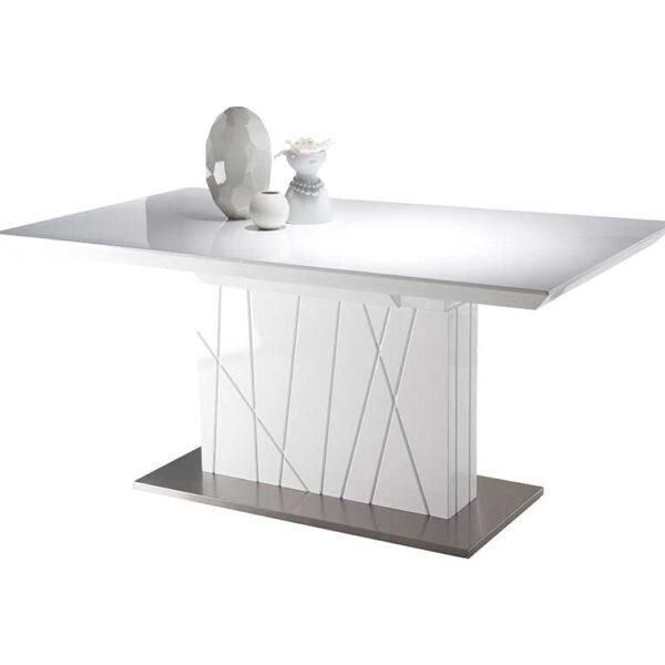 Mesa de Comedor Imperio 160/220x90x76.5 MDF Blanco Brillo