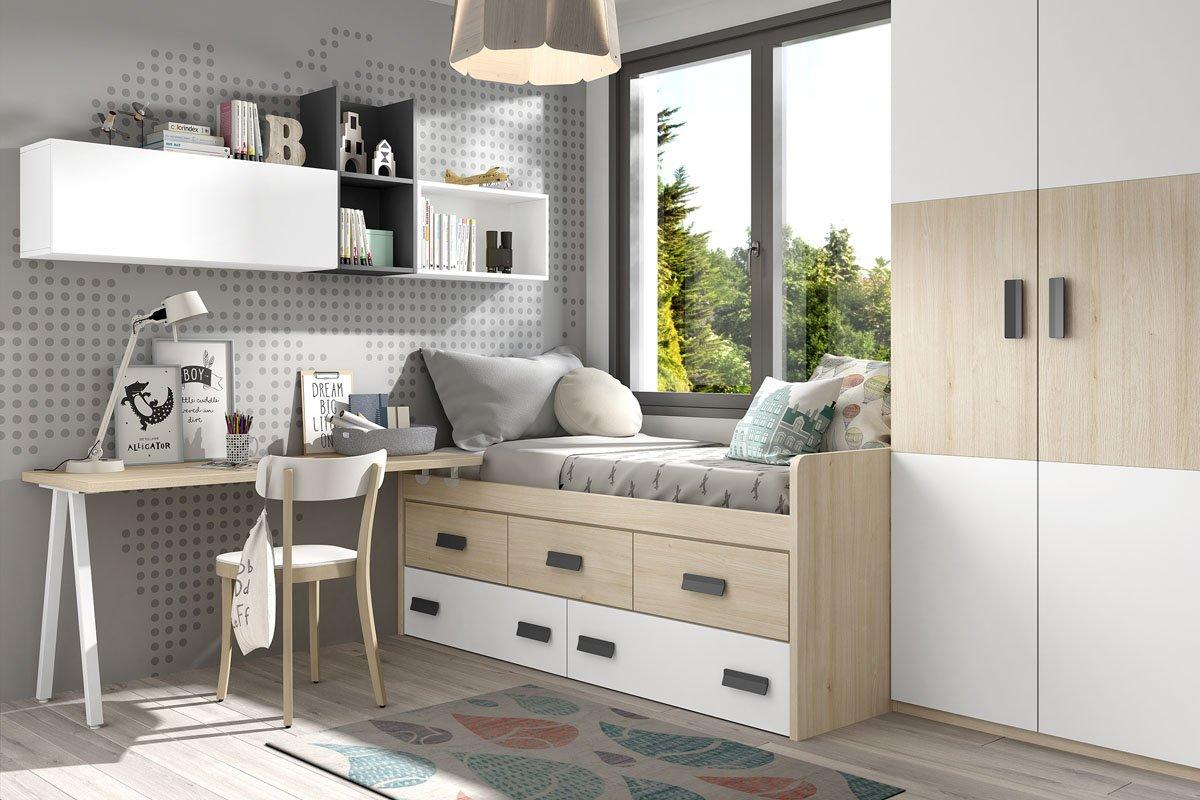 Dormitorio Juvenil Composicion B005 Block Compacto cajones armario 2 puertas mesa escritorio