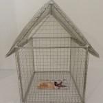 Spazio Tadini-Spazioinstabile- Il dogma del del debito/soldi d'artista: Galesi,Giace immobile,,2012,ferro zincato e carta,43x30x38cm