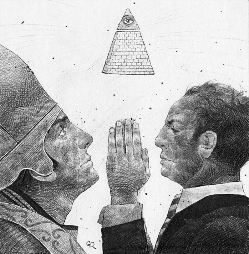 Spazio Tadini, SpazioinStabile - Soldi D'artista-Il Dogma del debito. Robustelli, Un solo dio, bic su cartoncino,16x16cm,2011