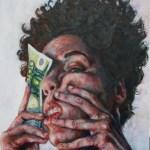 Spazio Tadini-Spazioinstabile- Soldi D'artista, Il dogma del debito- Gangi-dettaglio del trittico Gangi,Tre,2012,olio e doratura su tela, 30x40cm