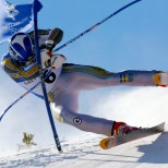 Fredrik Nyberg of Sweden crashes into a gate during the men's alpine, Super G at the Salt Lake 2002 Winter Olympic Games in Snowbasin, REUTERS/Stefano Rellandini