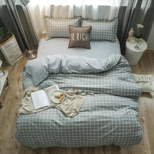 Green Grids Bedding Set
