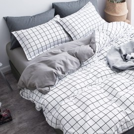 Gray White Grids Bedding Set