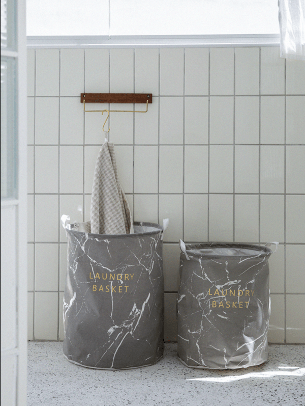 Gray Marble Canvas Laundry Bag