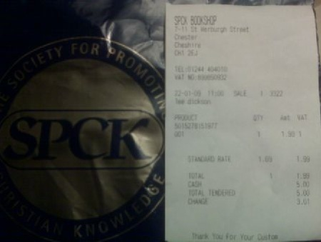 Chester Till Receipt and Bag, January 2009