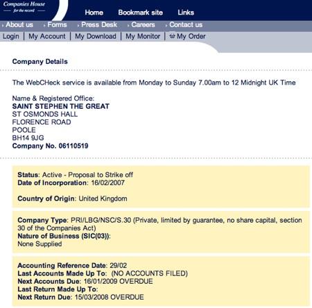 Status Active - Proposal to Strike off (Screenshot taken 23.01.2009)