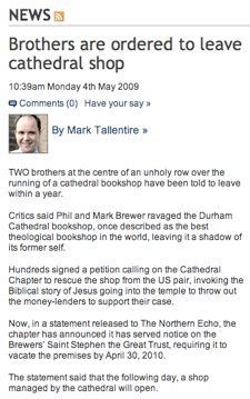 Northern Echo - Brothers are ordered to leave cathedral shop