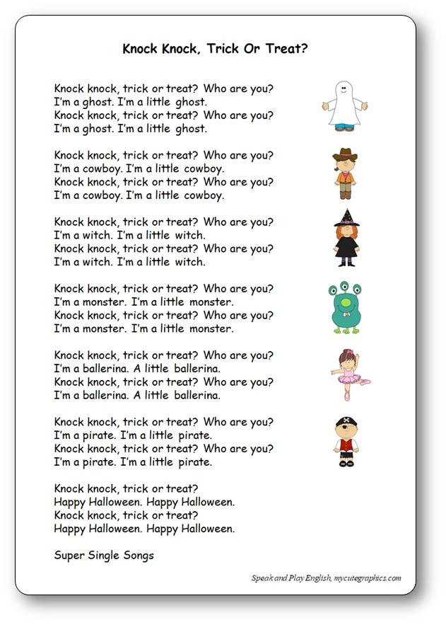 Knock Knock. Trick or Treat? – Nursery Rhyme with Lyrics and Music
