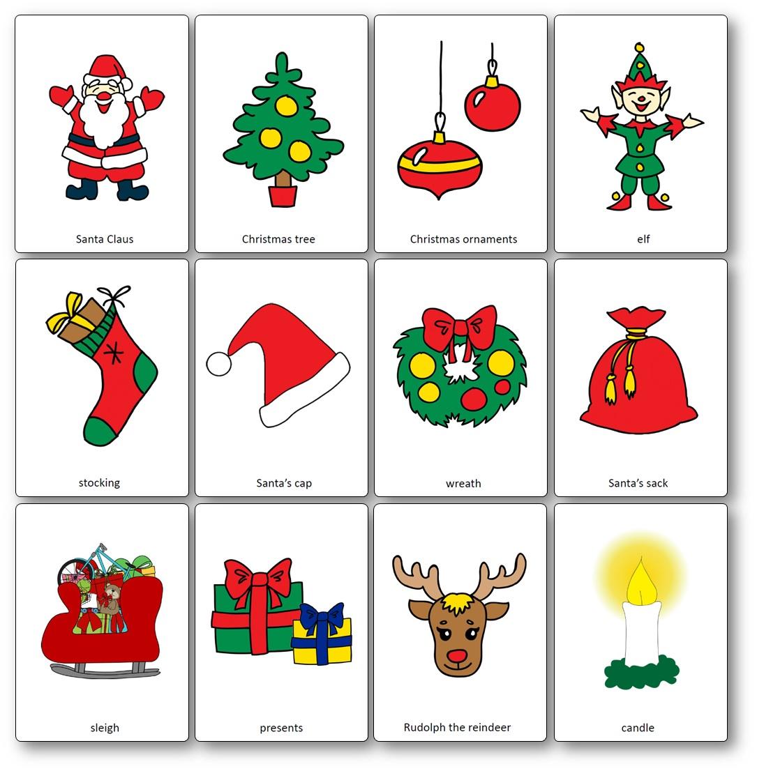 Flashcards Sur Le Theme De Noel En Anglais