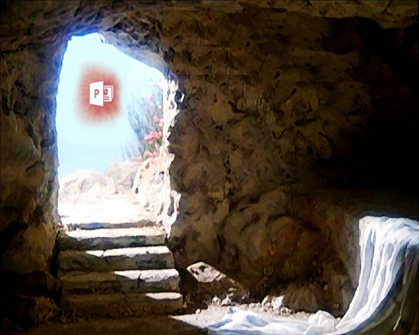 Resurrection Tomb with Powerpoint Icon Rising