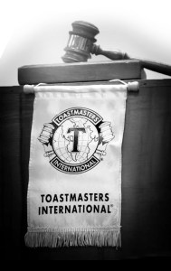 Podium with Toastmasters Banner and Gavel