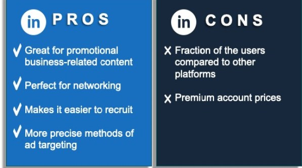 This graphic shows the props and cons of using LinkedIn for social media marketing.