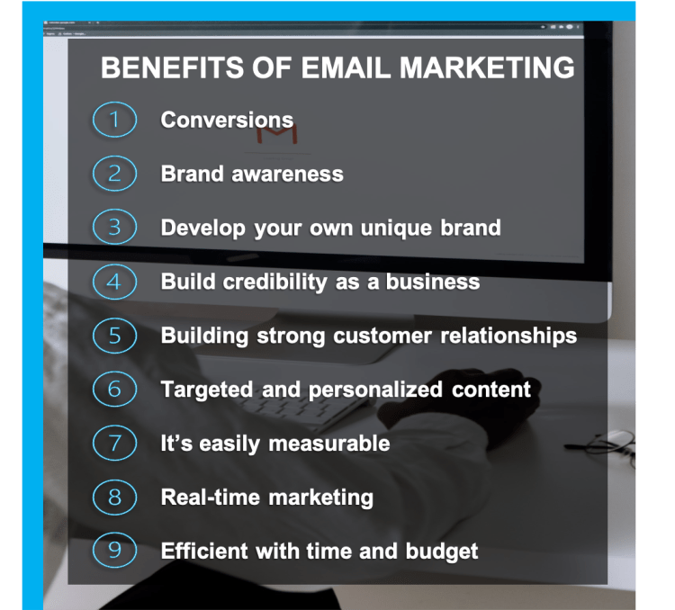 The nine core benefits of email marketing in 2021.
