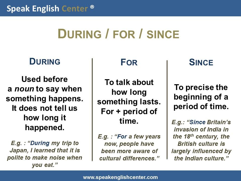 Speak English Center English Grammar Lesson Duringforsince  Speak English Center