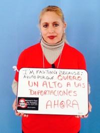 """Norma Chavez Mendoza, Centro de igualdad y derechos; Encuentro. """"I am fasting because I want a stop to deportations NOW."""""""