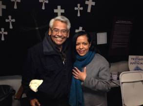 Eliseo Medina at the Fast For Families tent. November 2013.