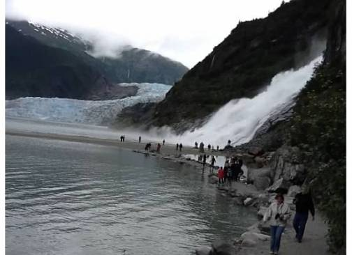 Family reunion in an Alaska cruise in Sept, 2012. This is the Mendenhall Glacier and Nugget Falls, Juneau, Alaska.
