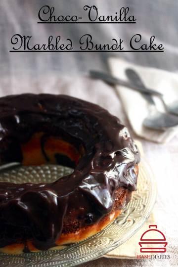 Chocolate Vanilla Swirl Cake with Chocolate Ganache