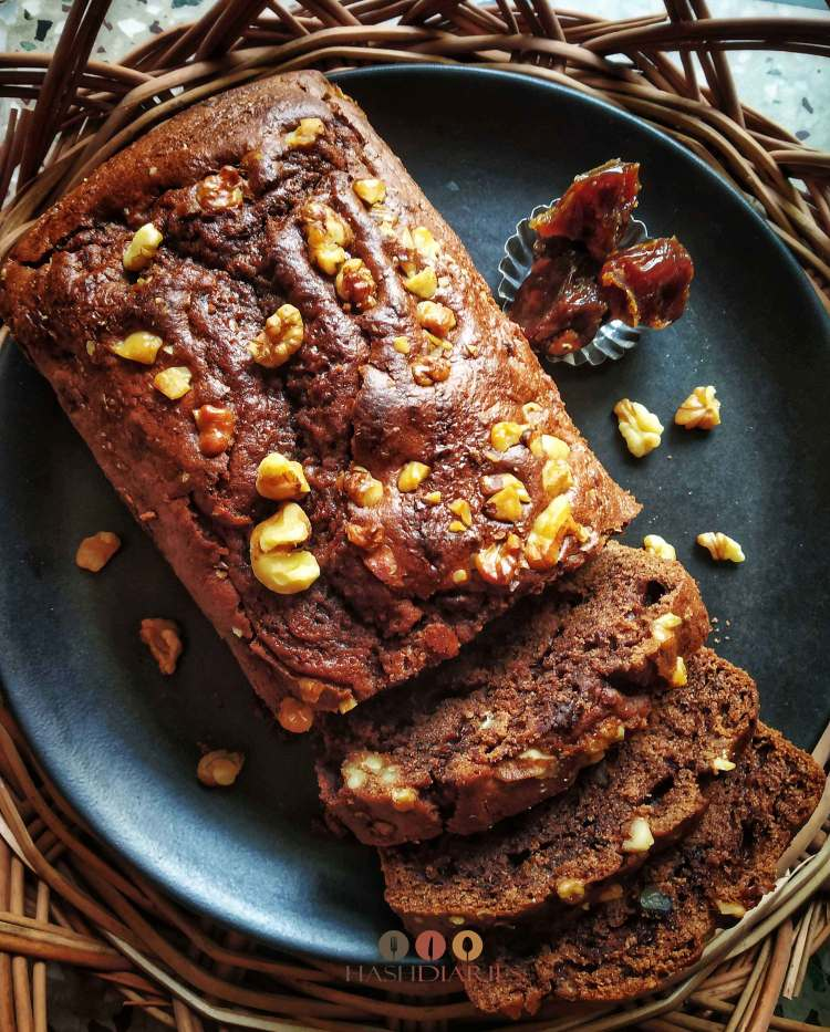 Date Walnut Chocolate Cake