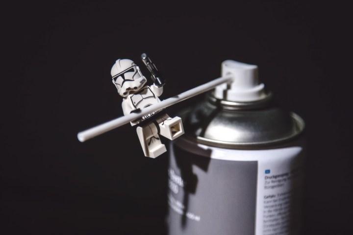 Storm Trooper climbing a can.