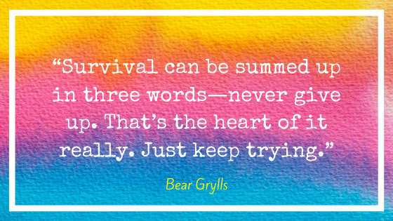 """Quote by Bear Grylls, """"Survival can be summed up in three words – never give up. That's the heart of it really. Just keep trying."""""""