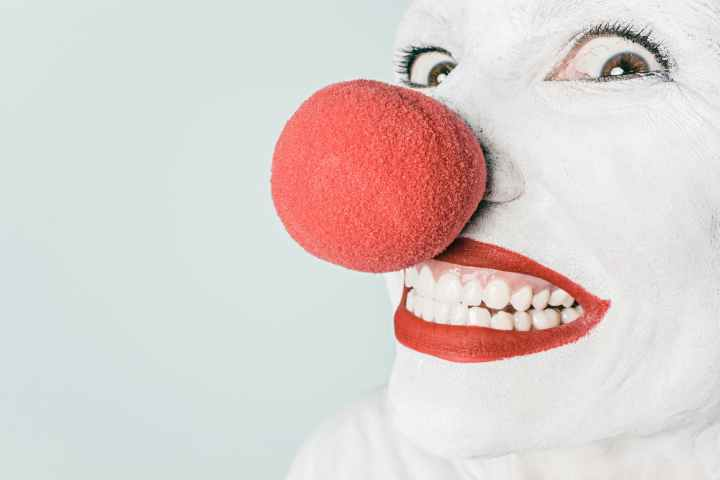 man person red white. Clowns can trigger an anxiety disorder response.