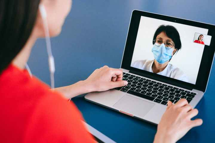 Patient on a video call with doctor. Speak to your doctor about anxiety disorders.