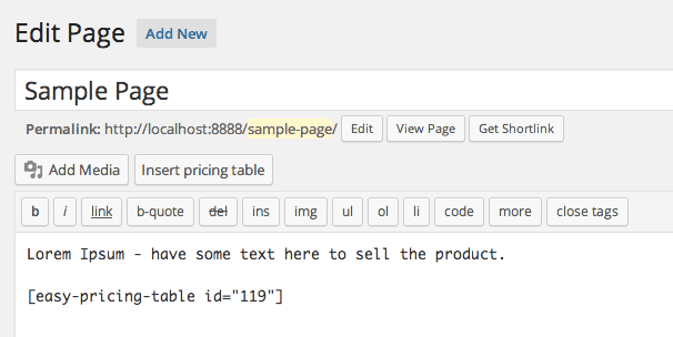 Easy Pricing Table Shortcode