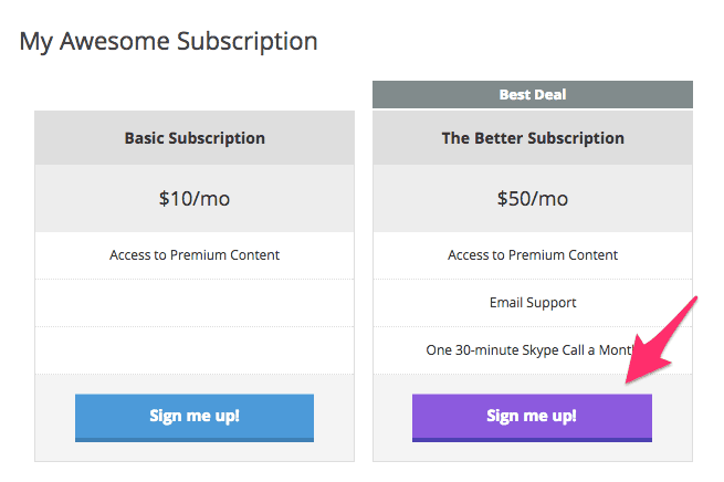 Pricing Table with Updated Colors (Purple!)