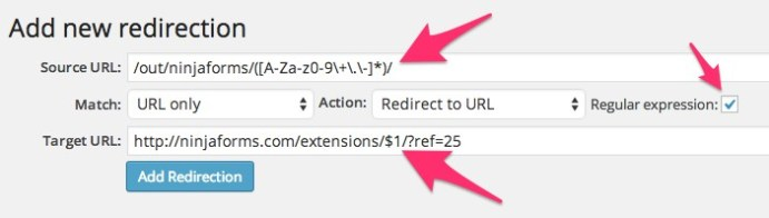 Redirection Regular Expression