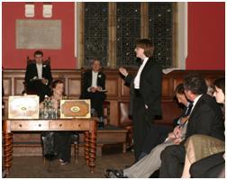 Arpil 2006 - Lori speaks to the Oxford Union