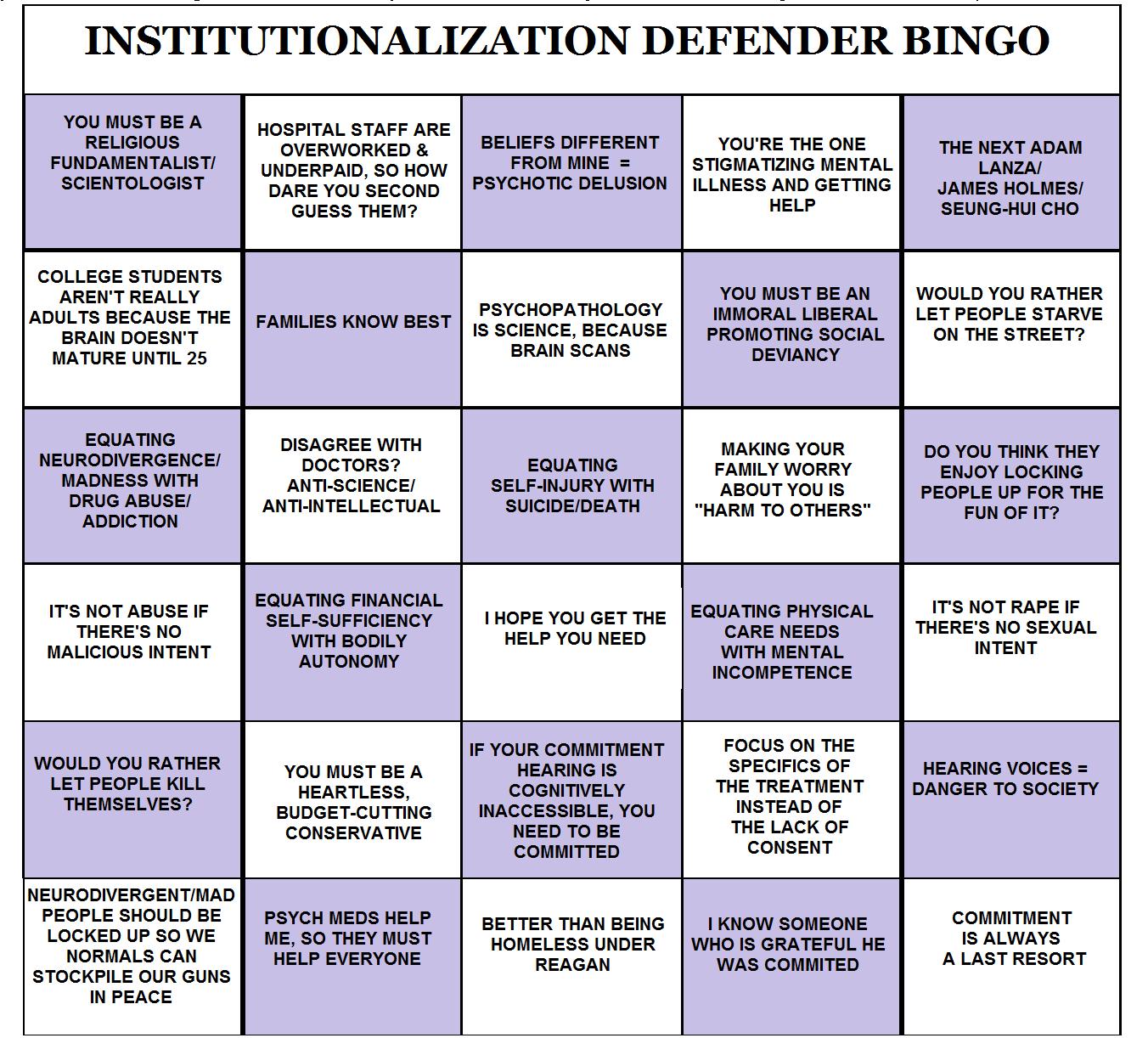 Institutionalization Defender Bingo
