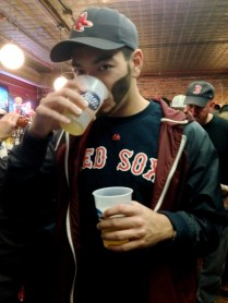 A friend of mine waiting for the game to start. (Note his Big Papi beard).