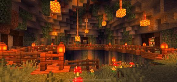 an underground base in Minecraft