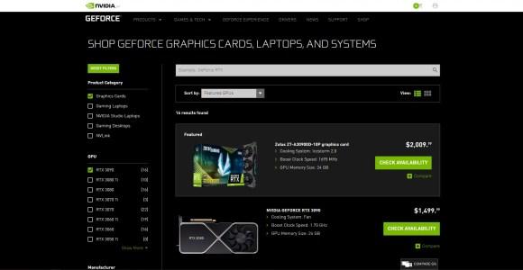 nvidia rtx 3090 shop page