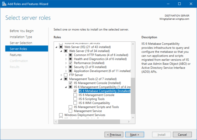 Add Roles and Features Wizard - IIS 6 Metabase Compatibility