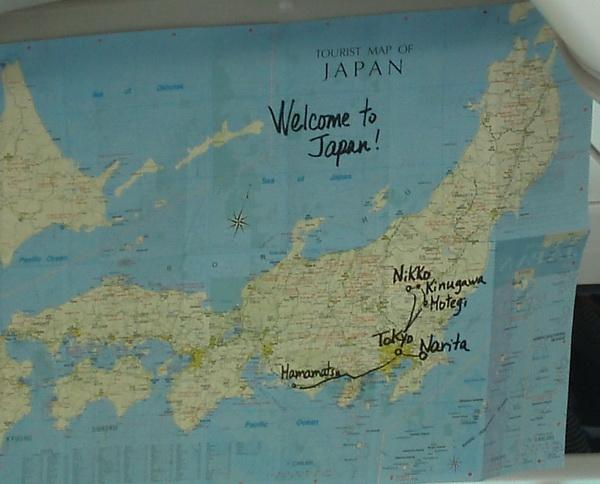 Från flygplatsen till City, Montegi ring, Kinugawa, Nikko, Hamamatsu och tillbaka till Tokyo.