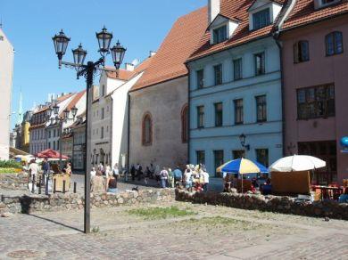 De äldsta husfasaderna i Riga.