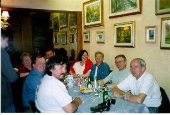 Första kvällen i Florence när vi intog en gemensam middag. Mannen i blå skjorta är Dave Bell, organisatören