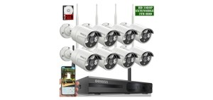 8-Channel OOSSXX HD 1080P Wireless Security Camera System with 8Pcs Camera