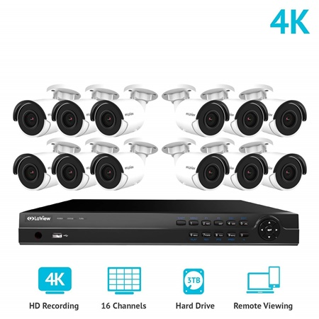 LaView 16 Channel Ultra HD 4K Home Security Camera System Kit