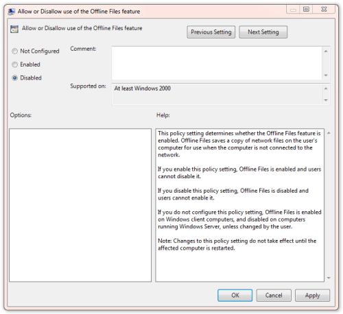 GPO Turn off offline files 2