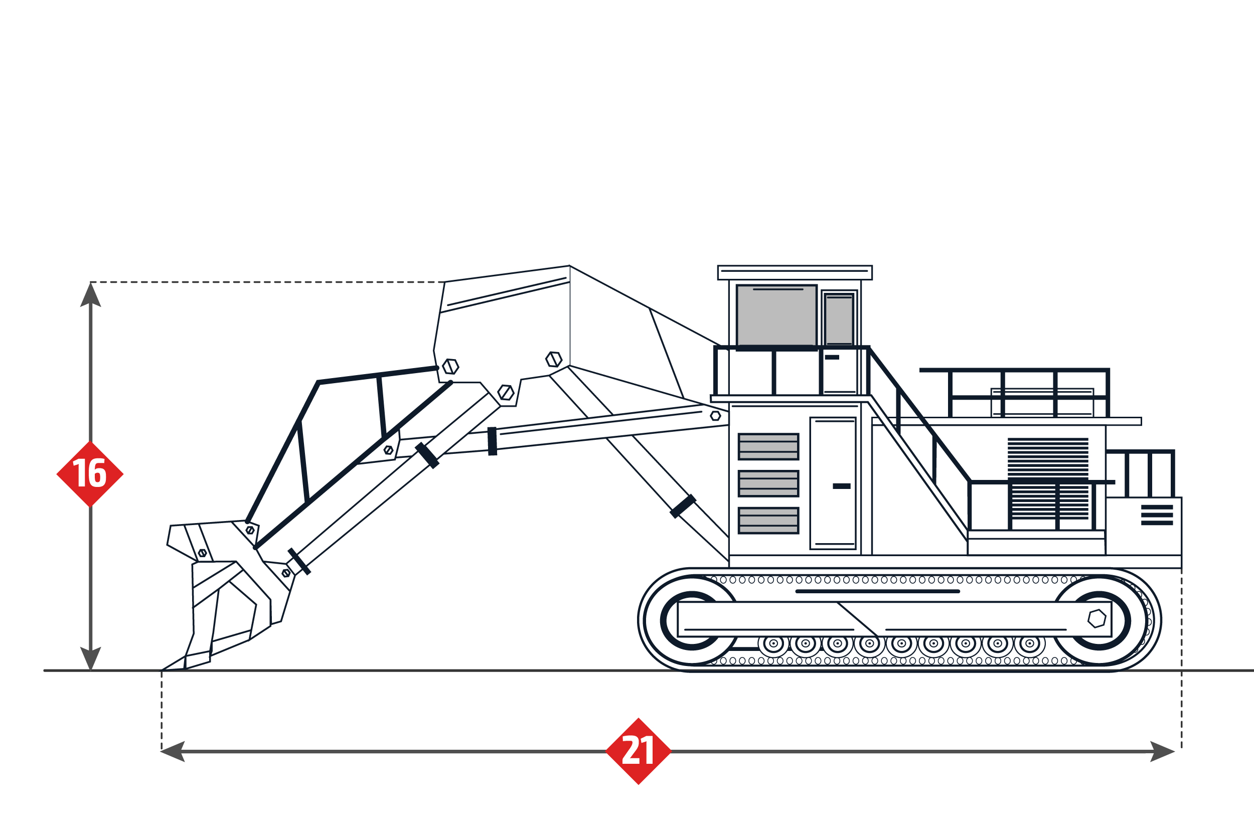 Terex RH340 Specifications. Mining Excavator.