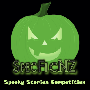"Halloween adaptation of SpecFicNZ logo with text ""Spooky Stories Competition"""